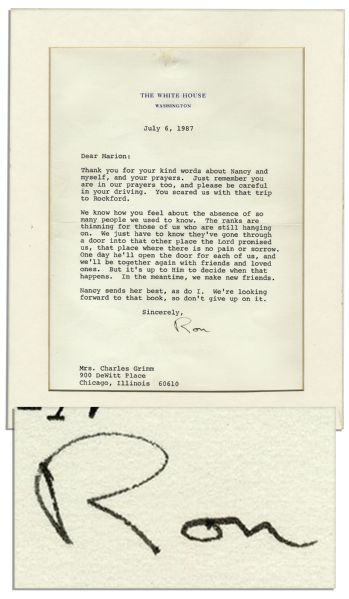 Ronald Reagan Memorabilia Auction President Ronald Reagan 1987 Letter Signed With Personal, Religious Content -- ''We just have to know they've gone through a door into that other place the Lord promised us...''