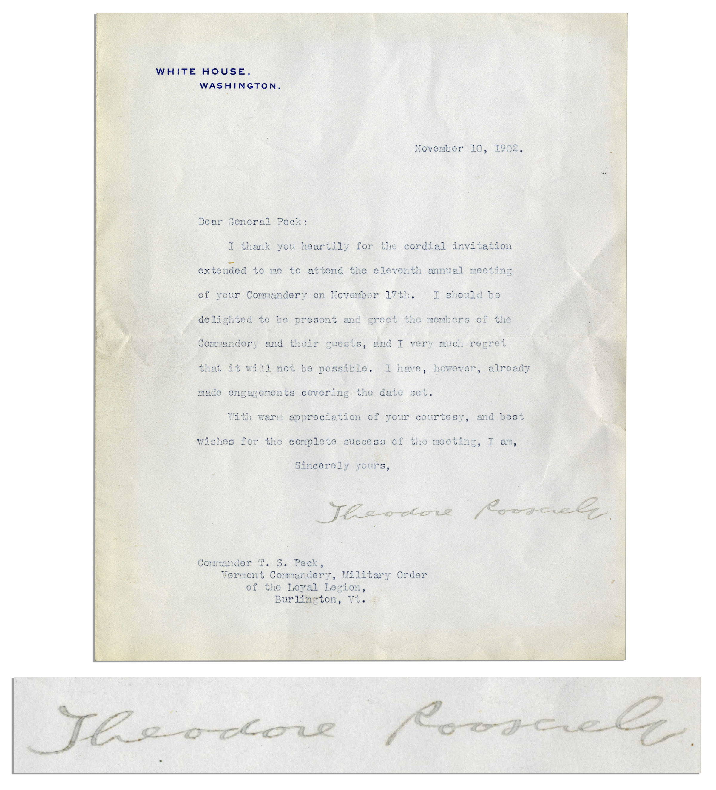Lot detail president theodore roosevelt typed letter signed i president theodore roosevelt typed letter signed i thank you heartily for the stopboris Gallery