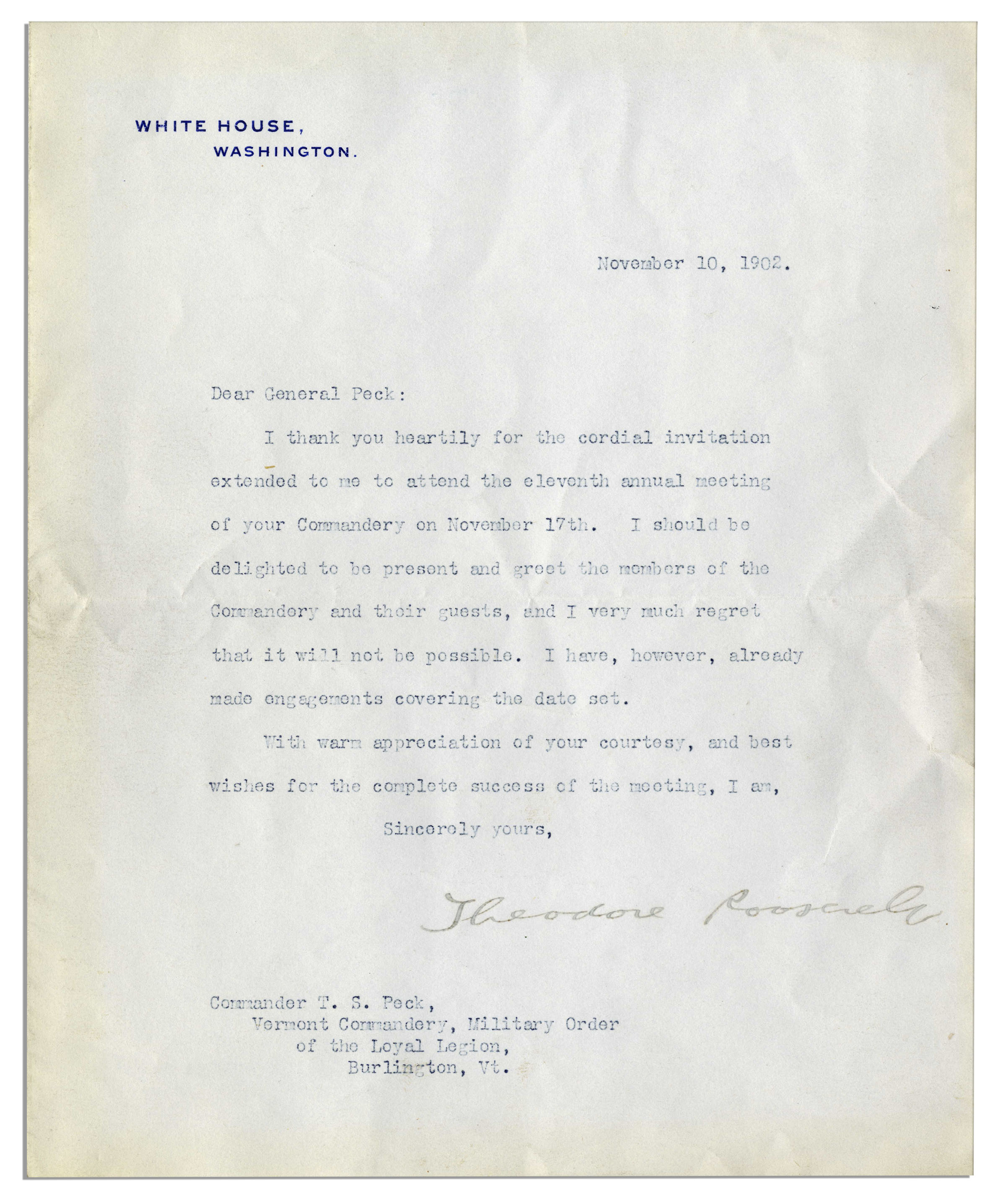 Lot detail president theodore roosevelt typed letter signed i president theodore roosevelt typed letter signed i thank you heartily for the stopboris Choice Image