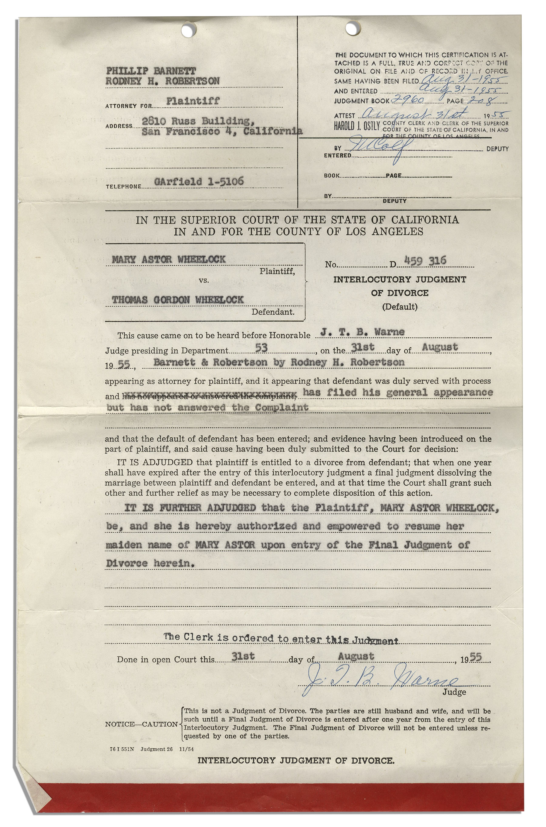 Lot Detail Mary Astor Divorce Certificate From Her Marriage To