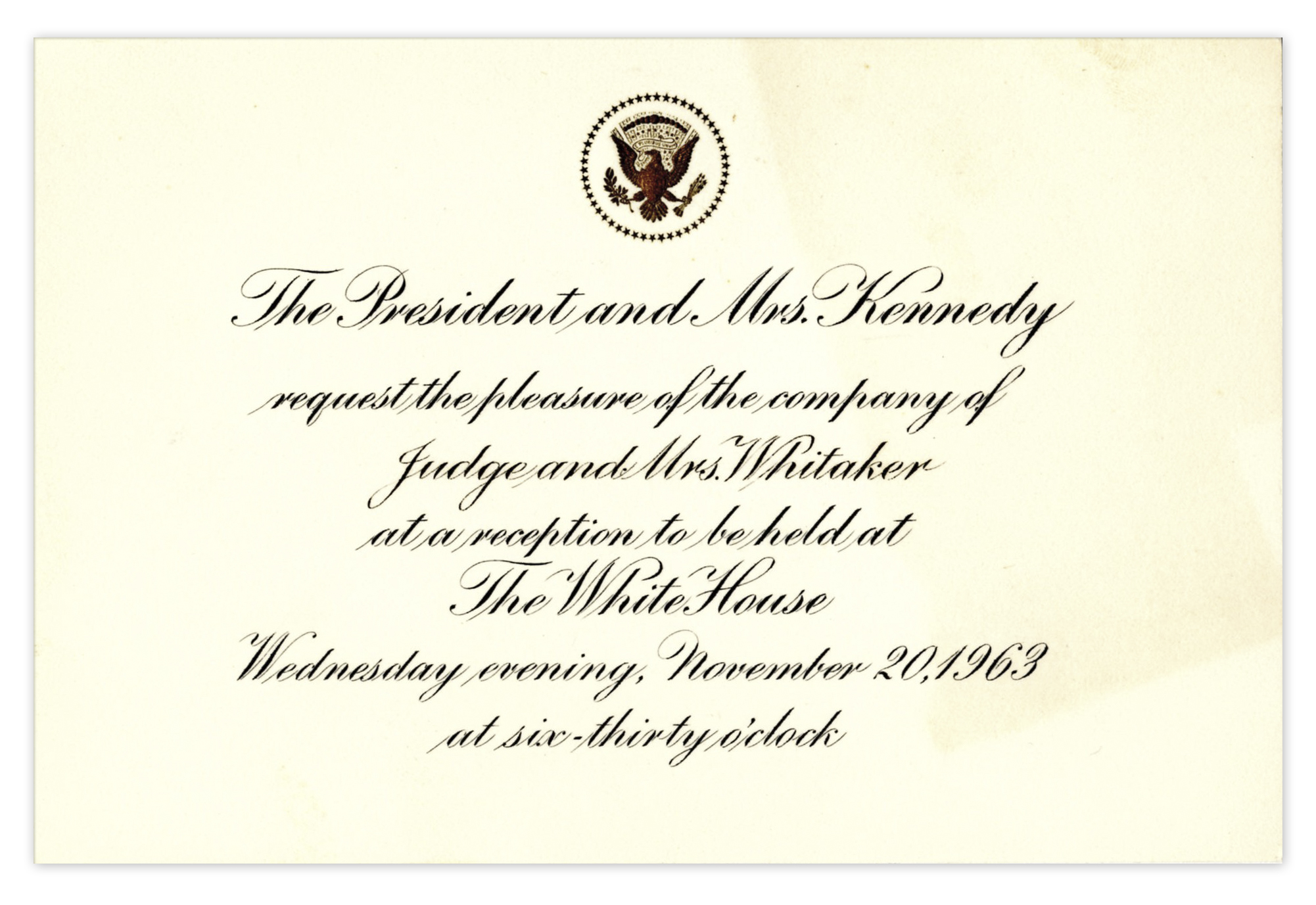 Invitation card last line purplemoon lot detail very last white house invitation for the kennedy invitation samples stopboris Choice Image