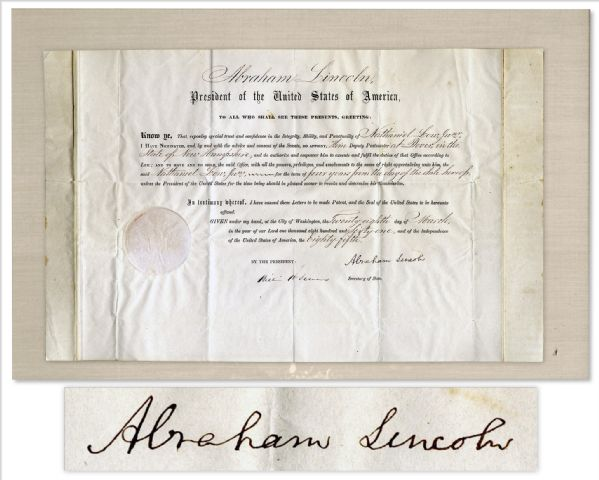 Abraham Lincoln Document Signed Abraham Lincoln Document Signed With a Bold, Full ''Abraham Lincoln'' Signature -- Signed Very Early in His Presidency on 28 March 1861
