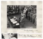 WWII Admiral Chester Nimitz Twice-Signed 14 x 11 Photograph -- Depicting Nimitz Signing the Declaration of Japanese Surrender on 2 September 1945