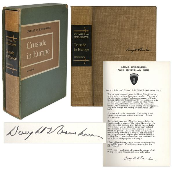 Dwight D. Eisenhower Signed D-Day Speech From ''Crusade in Europe'' -- Rare Signed Speech Is Very Desirable Among Presidential & WWII Collectors