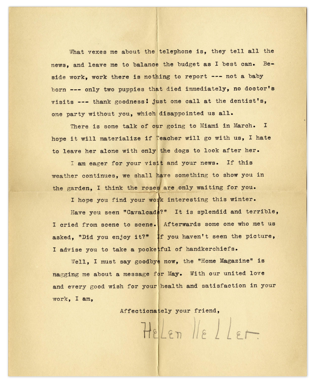 Lot Detail - Helen Keller Typed Letter Signed -- ''   When I