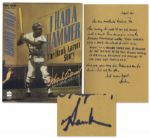 Hank Aaron Autograph Note Signed Within His Autobiography -- ...Racist...thoughts cannot, alas, be abolished by fiat...