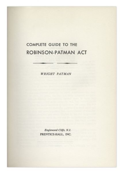 President Franklin D. Roosevelt Pen Used to Sign the Important Robinson-Patman Act Into Law -- Designed to Help Local Stores Compete With Large Retailers