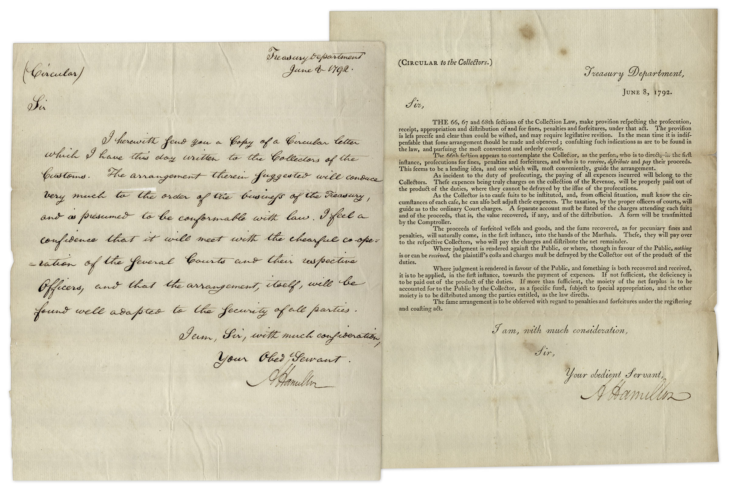 Alexander Hamilton autograph Alexander Hamilton Letters Signed Discussing Collection Law -- ''...I feel a confidence that it will meet with the chearful co-operation of the several courts...''
