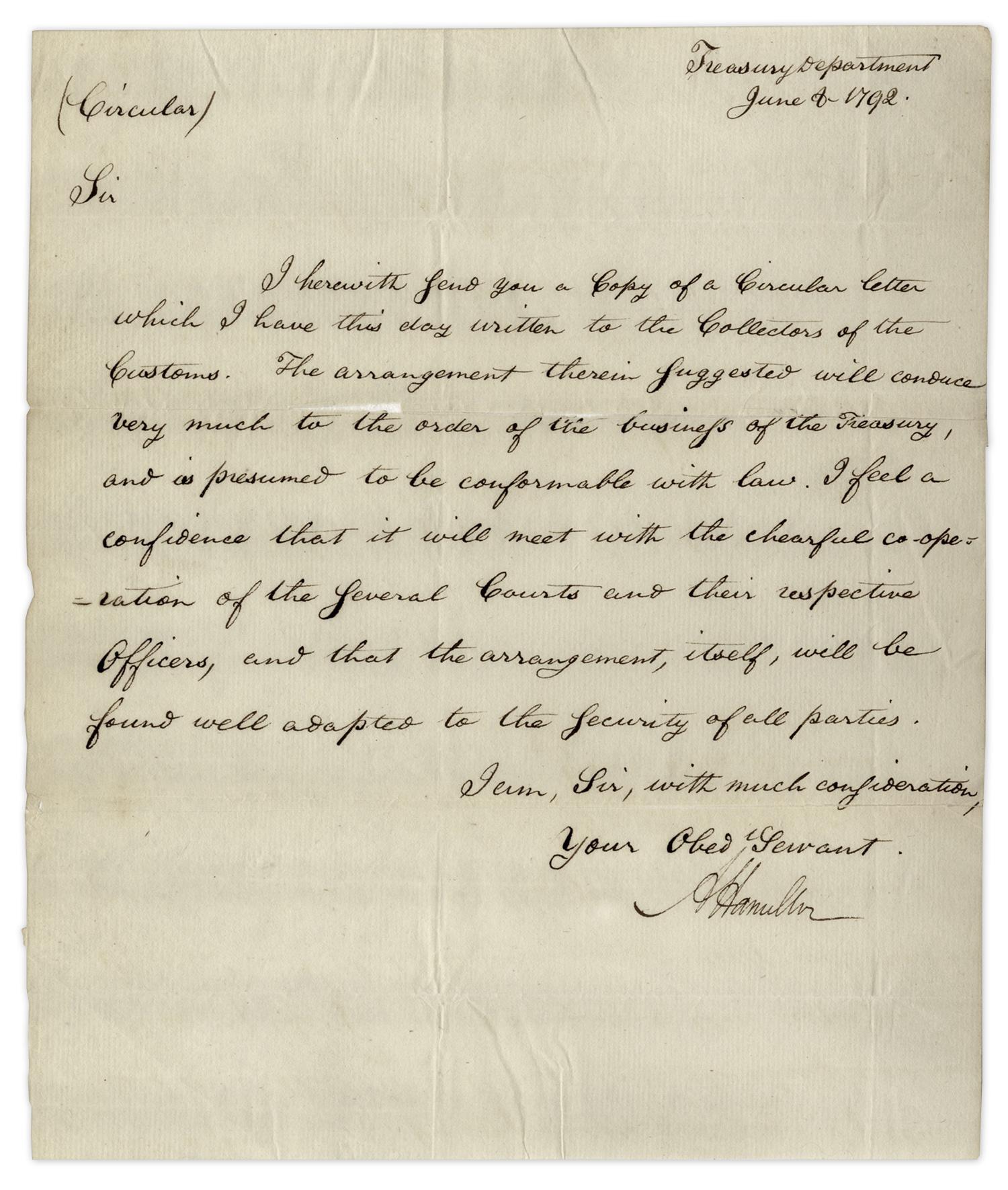 Lot Detail Alexander Hamilton Letters Signed Discussing