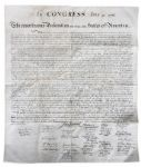 Rare and Beautiful 1843 Force Declaration of Independence From Original Copper Plate