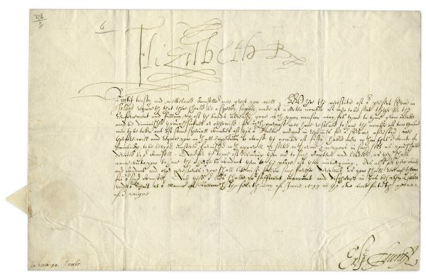 Queen Elizabeth Autograph Queen Elizabeth I Document Signed From 1599 -- Concerning the Need for More Troops During the Nine Years War -- With Very Large ''Elizabeth R'' Signature