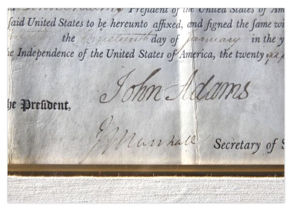 John Adams Document Signed as President in 1801 & Countersigned by John Marshall -- Adams Grants Land to Two Revolutionary War Soldiers With a Large, Bold Signature