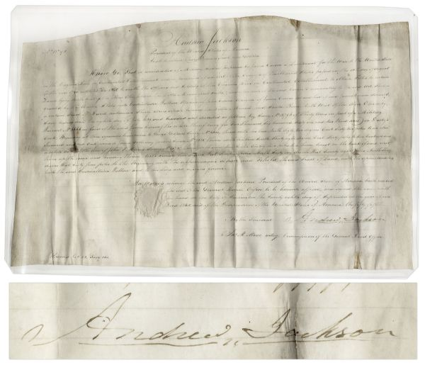 Andrew Jackson Land Grant Signed as President -- Large Document Measures 25'' x 16''