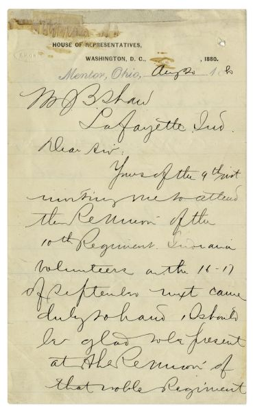 James Garfield Autograph Letter Signed in 1880 -- ''...I should be glad to be present at the reunion of that noble regiment which did such gallant service...''