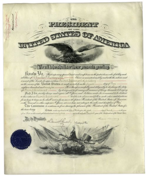 Grover Cleveland Signed Military Appointment as President
