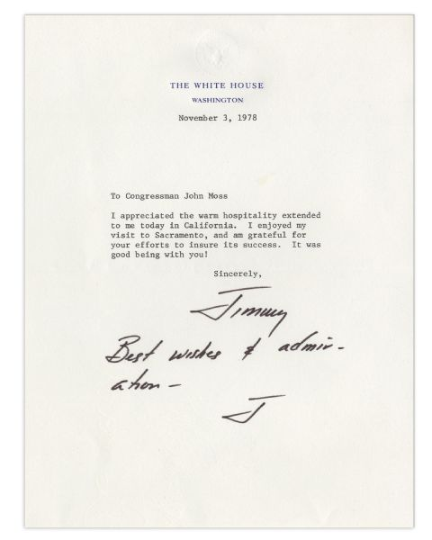 Jimmy Carter Typed Letter Signed & Autograph Note as President