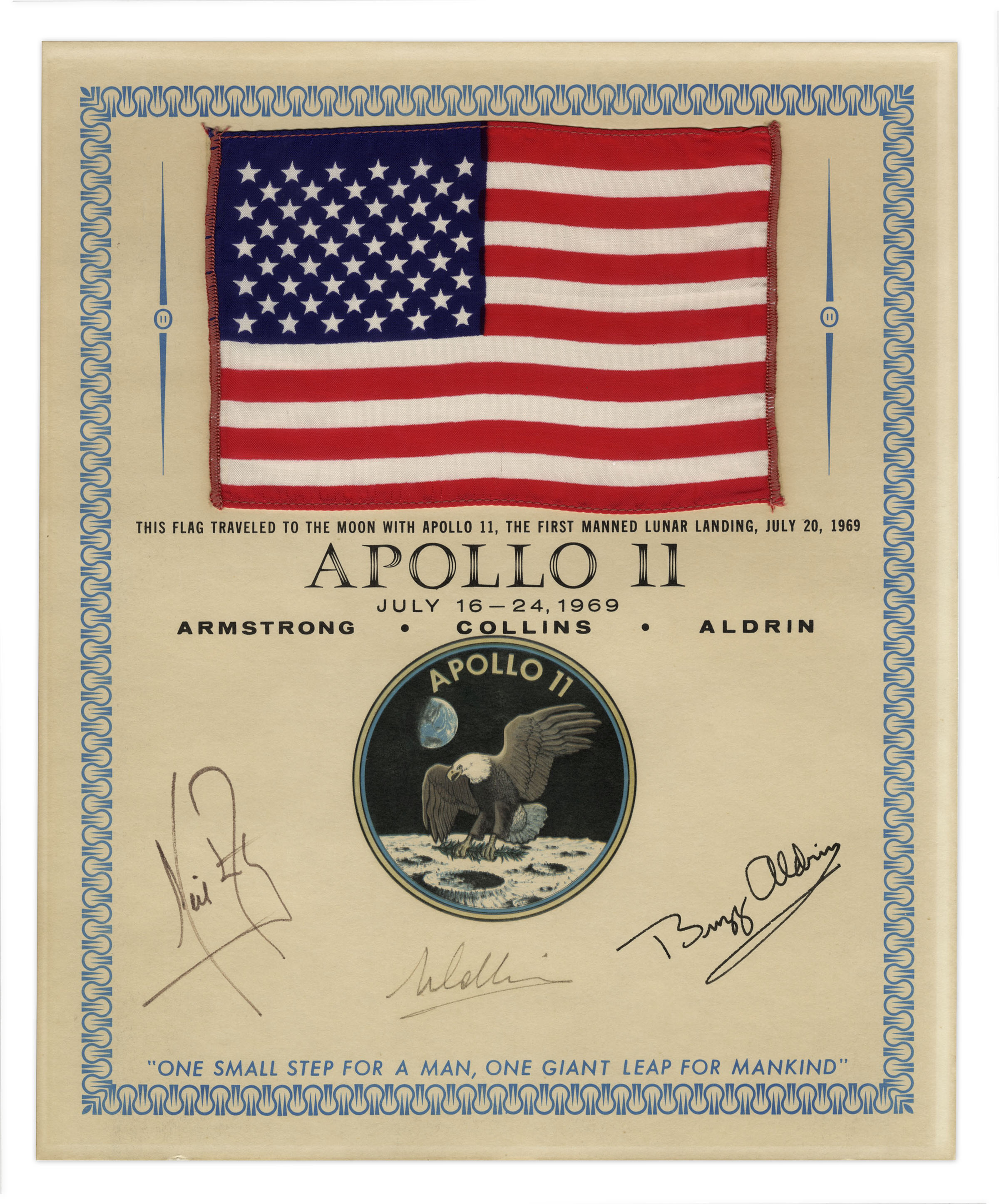Exceptionally Scarce Apollo 11 Flag Flown to the Moon -- Signed by Armstrong, Aldrin & Collins