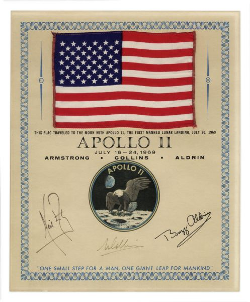Apollo Command Module rotation hand controller Apollo Flown Lunar Module Rotational Hand Controller TR-204 Saturn V Attitude Control Rocket Engine Exceptionally Scarce Apollo 11 Flag Flown to the Moon -- Signed by Armstrong, Aldrin & Collins