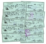 Lot of 10 Personal Checks Signed by Baseball HOFer Harmon Killebrew