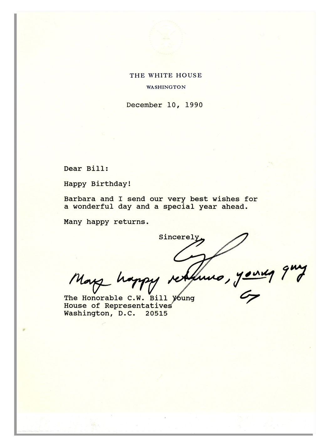 as president george hw bush sends birthday wishes via a letter signed with an additional