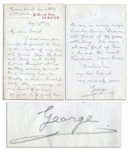 King George V Autograph Letter Signed -- ...he was the nicest Frenchman I ever knew...