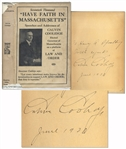 Calvin Coolidge Signed Have Faith in Massachusetts -- Signed as Governor of Massachusetts