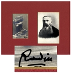 Revolutionary French Sculptor Auguste Rodin Signed Photo Postcard of His Famous Work, Cariatide Carrying a Stone