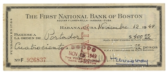 Ernest Hemingway Check Signed From 1949