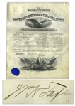 William Howard Taft Document Signed as President