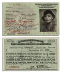 Greta Garbos United States Immigrant ID Card -- Signed & With Her Photo From 1938