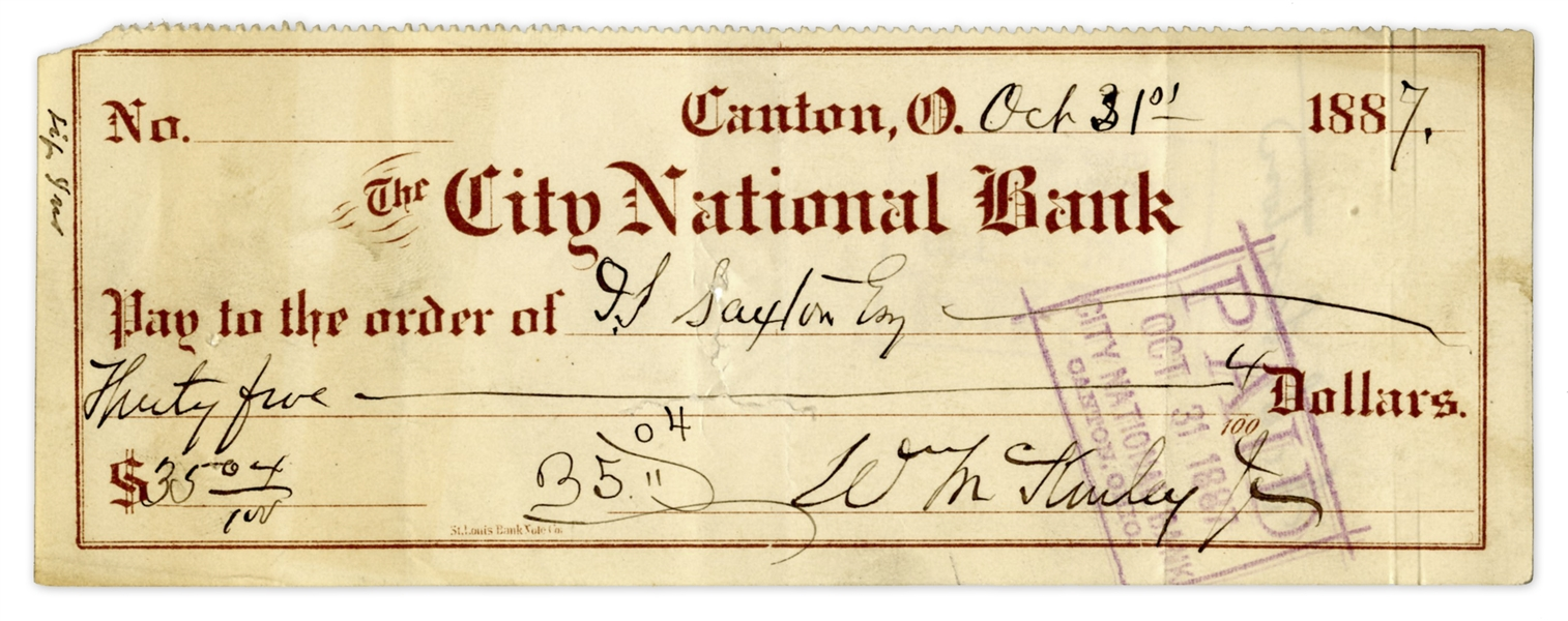 President Signed Checks William McKinley Signed Check