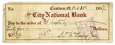 William McKinley Signed Check