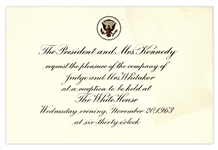 Very Last White House Invitation for the Kennedy Administration -- President John F. Kennedy Invitation Card for a White House Reception Held Two Days Before His Death