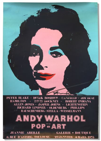 Andy Warhol Liz Taylor lithograph Andy Warhol Signed Poster of His Famous Elizabeth Taylor Masterpiece