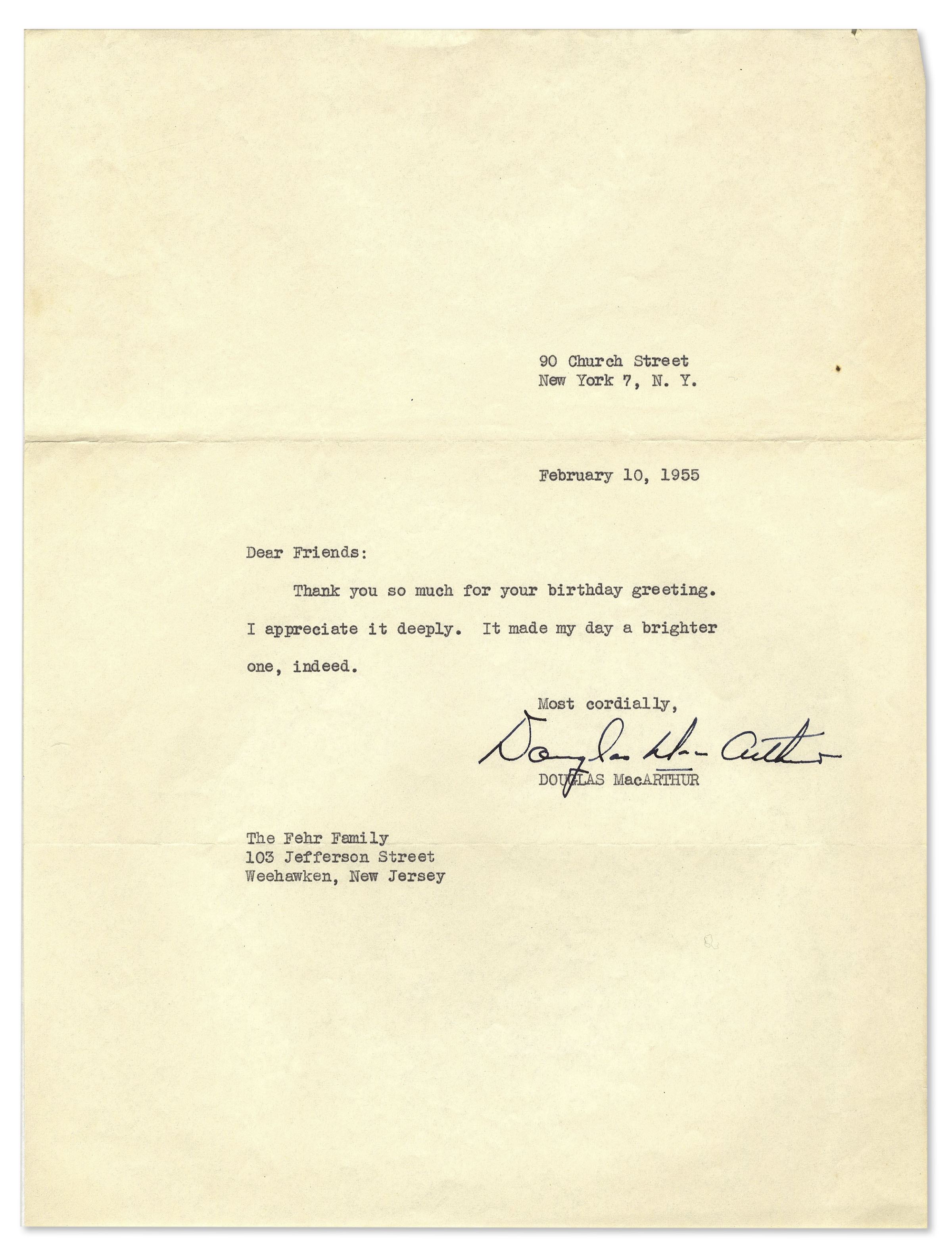 Lot Detail General Douglas Macarthur Typed Letter Signed