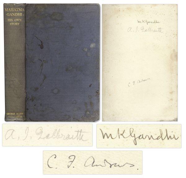 Mahatma Gandhi autograph Mahatma Gandhi Signed Copy of His Autobiography ''Mahatma Gandhi - His Own Story'' -- Very Rare -- With COA From University Archives