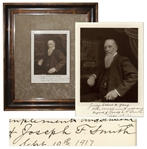 Mormon President Joseph F. Smith Signed Photo -- Dedicated to U.S. Steel Co-Founder Elbert H. Gary