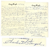 Casey Stengel Autograph Letter Signed -- ...in regards to trades & winter work for the Yankee club...I signed a two year contract at my former figure...
