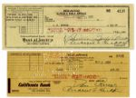 Lucille Ball and Desi Arnaz Signed Checks From 1953
