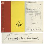 Andy Warhol Sketches His Famous Campbells Soup Can -- Drawn Upon a Signed First Edition of The Philosophy of Andy Warhol -- With a COA From PSA/DNA