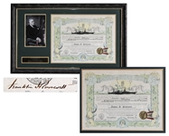 Franklin D. Roosevelt Document Signed as President -- Rare Ancient Order of the Deep Naval Certificate