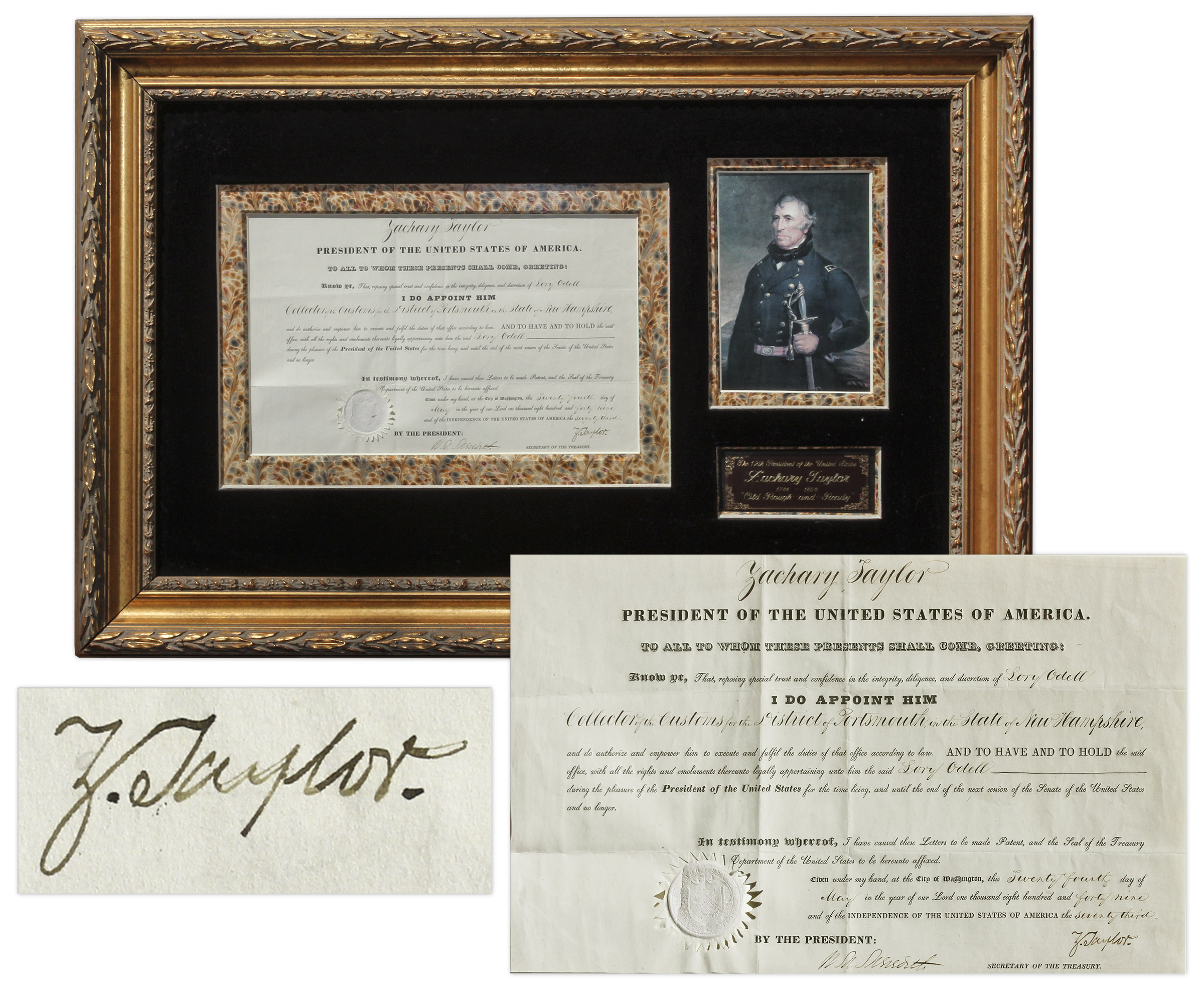 Zachary Taylor Autograph Zachary Taylor Document Signed as President -- The Third Rarest Autograph as President