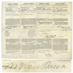 Martin Van Buren Four-Language Ships Paper Signed as President