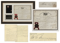 William T. Sherman Letter Signed Regarding West Point & Document Signed by Grover Cleveland as President