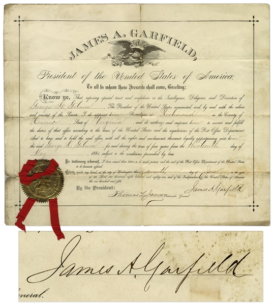 James Garfield autograph Scarce James Garfield Document Signed as President -- From 7 June 1881