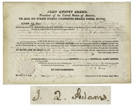 John Quincy Adams Land Grant Signed as President in 1826