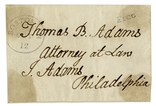 John Adams Free Franked Signature -- With Holograph Address Leaf, to His Son Thomas Adams
