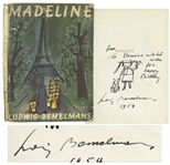 Ludwig Bemelmans Hand Drawn Illustration of Madeline With Her Dog -- Signed & Drawn Inside Copy of Madeline
