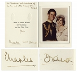 Prince Charles & Princess Diana Signed Christmas Card From 1981, Their First Year as a Married Couple -- Also With Handwritten Note by Diana