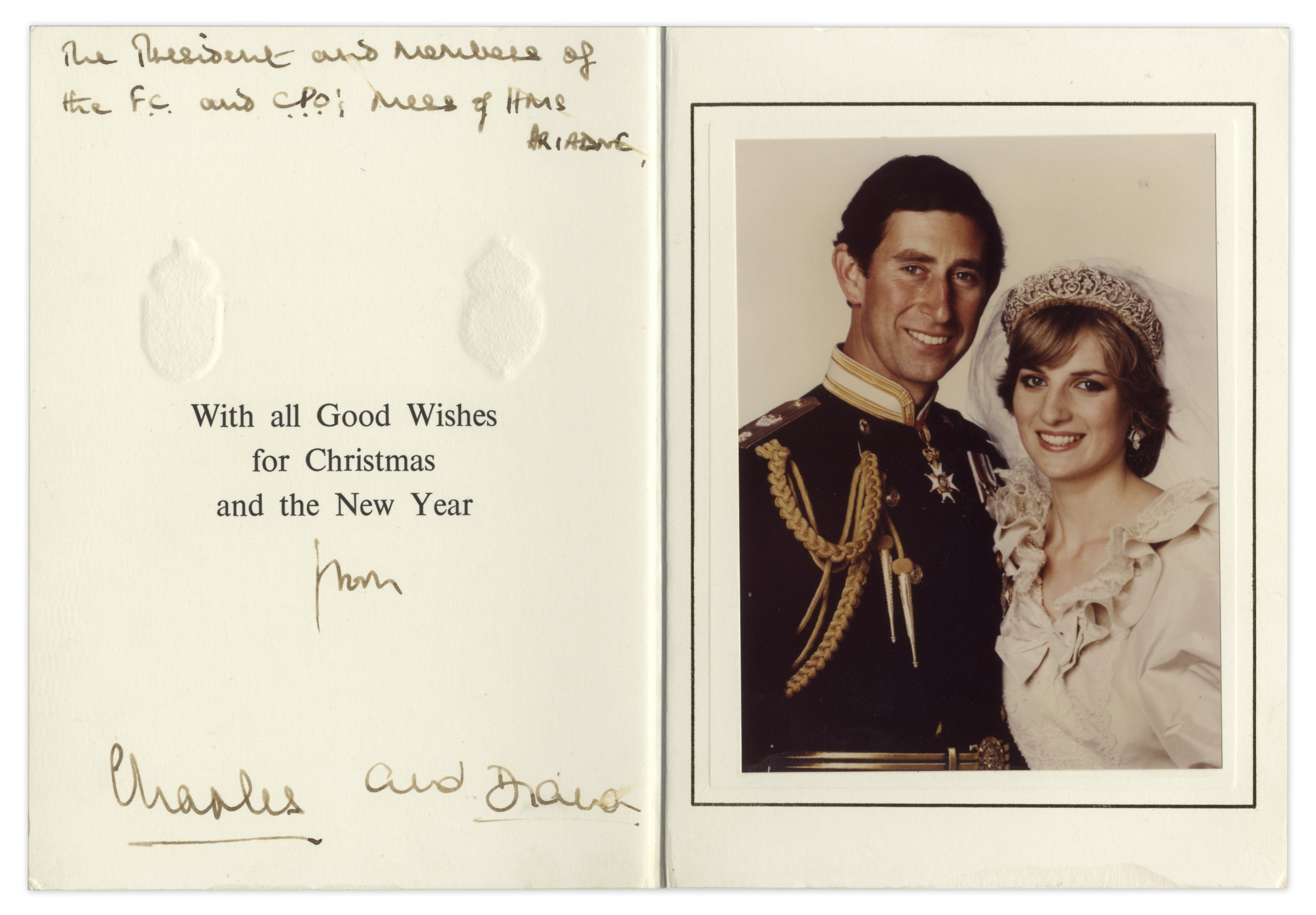 lot detail prince charles princess diana signed christmas card